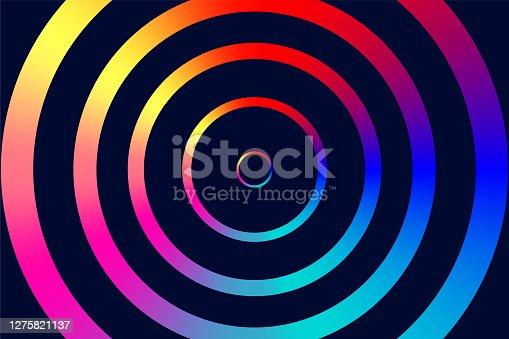 istock Background with glowing circles for night club. Futuristic geometric dark pattern 1275821137