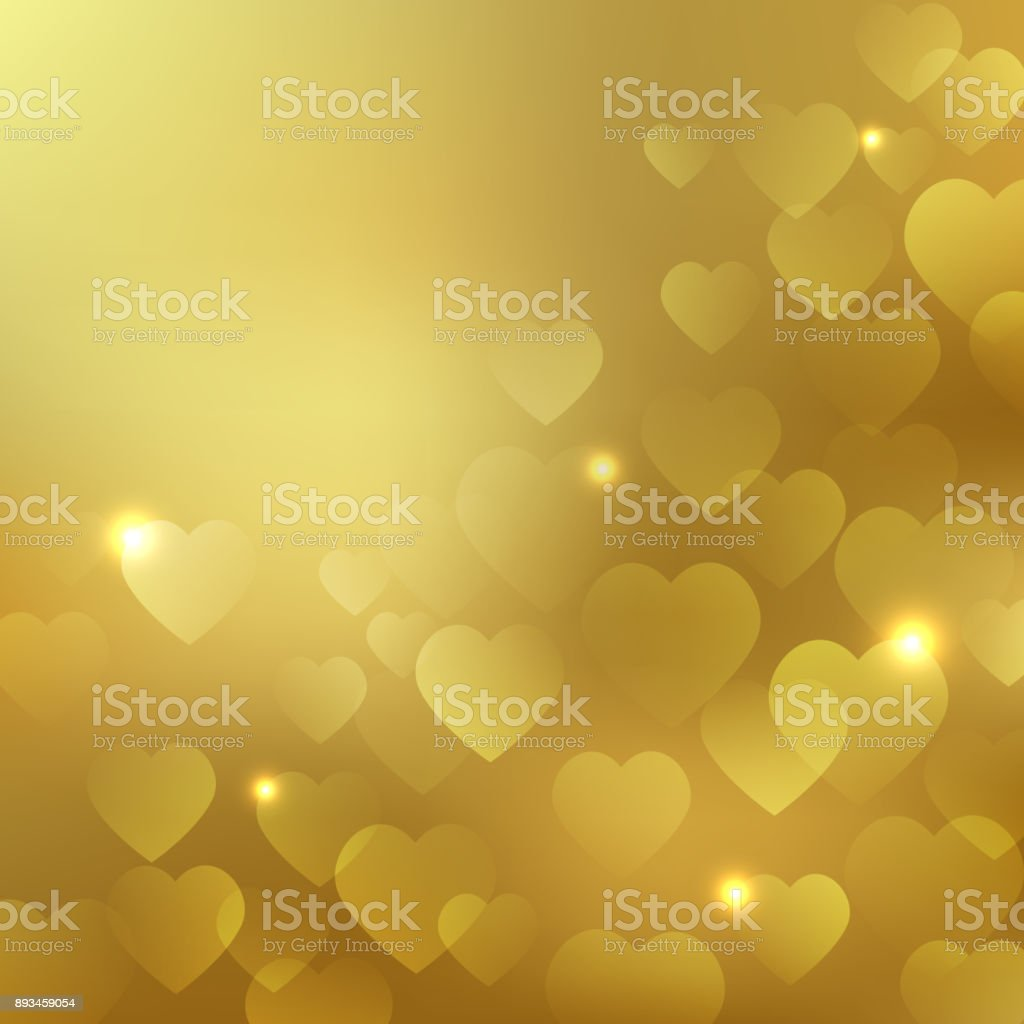 Background with gold hearts vector art illustration