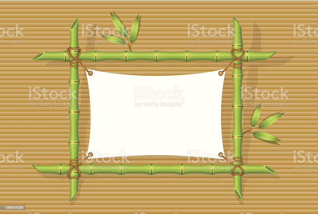 Background with green bamboo frame vector art illustration