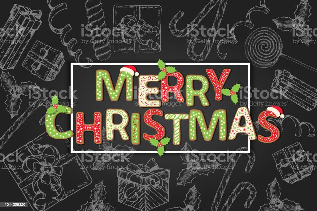 Citaten Kerst En Nieuwjaar : Achtergrond met groet citaat merry christmas en hand getrokken