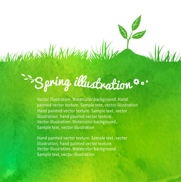 Background with growing sprout. Watercolor vector background with growing sprout. gardening stock illustrations