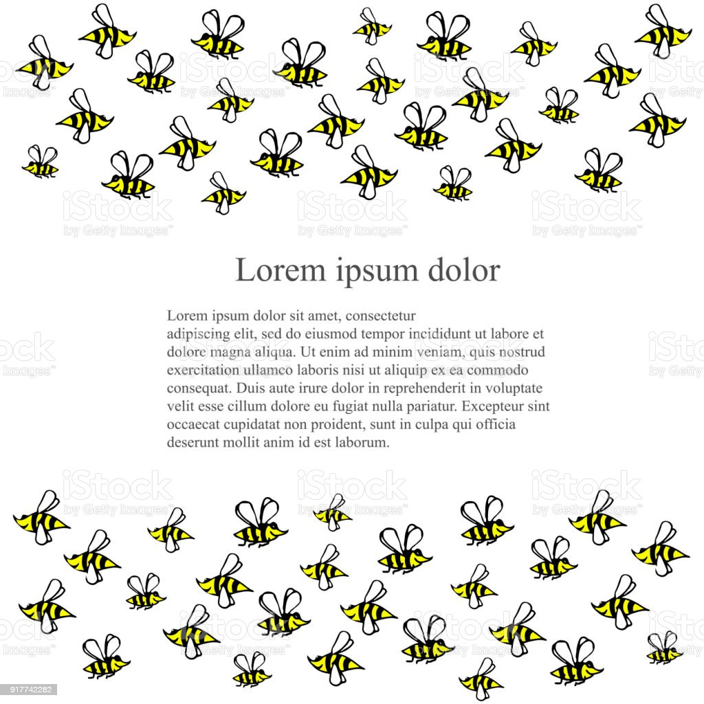 Background with hand drawn cartoons bees vector art illustration