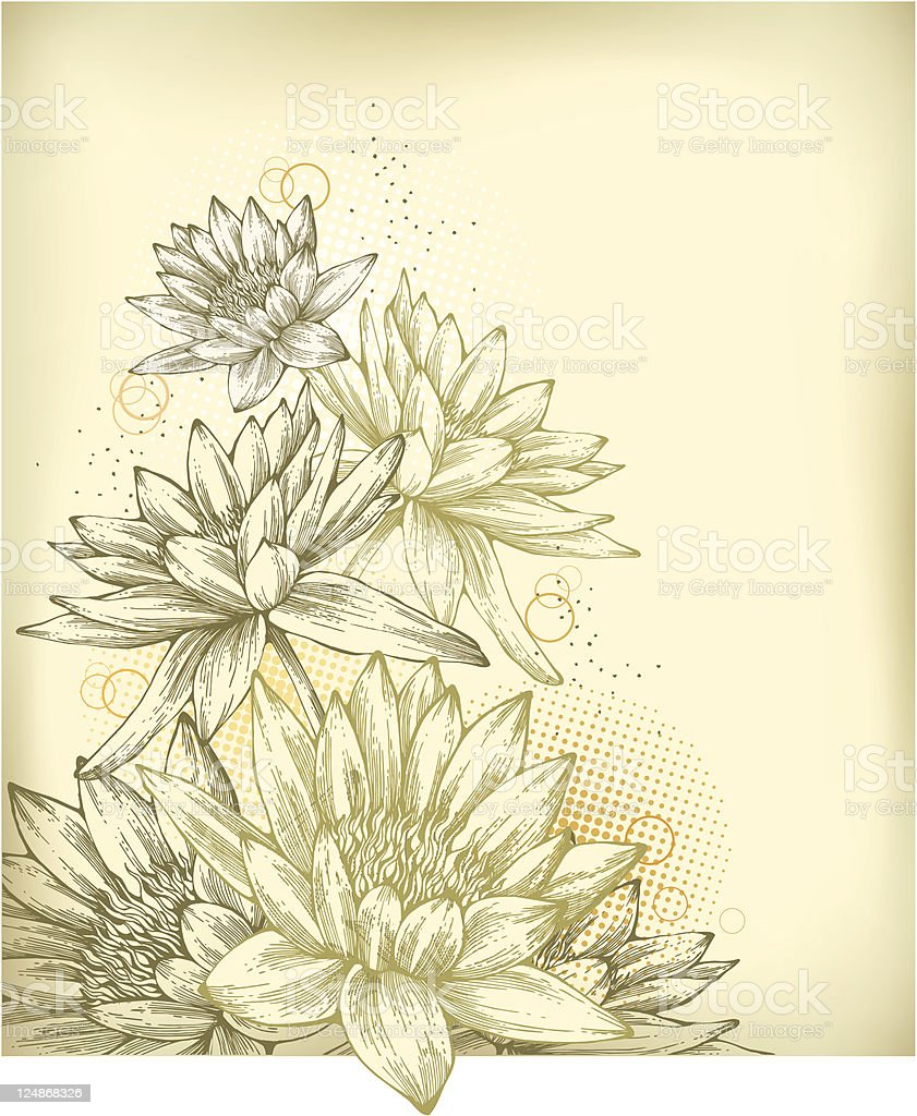 Background with hand drawn water lilies royalty-free stock vector art