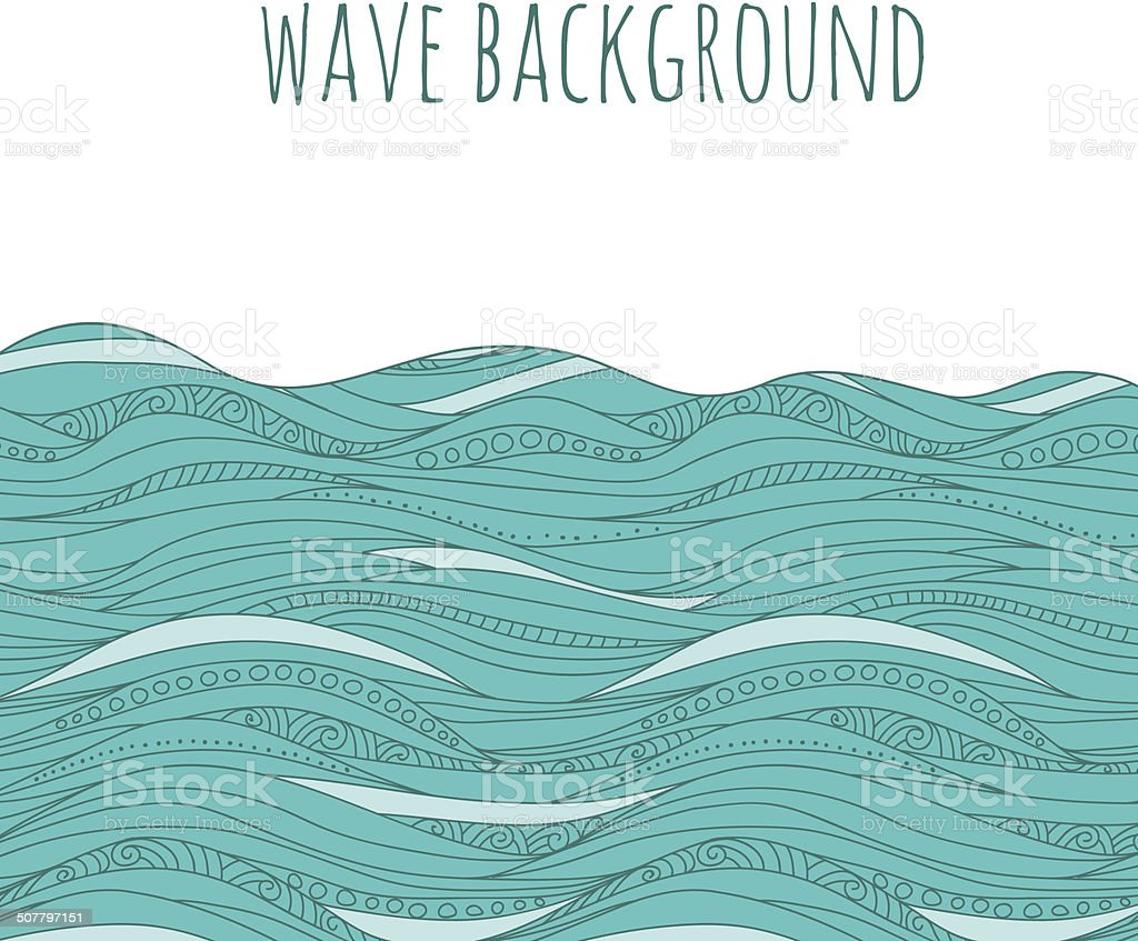 background with hand drawn waves vector art illustration