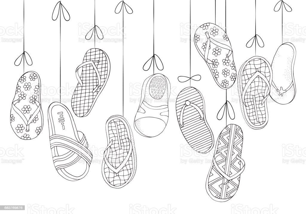 Ilustración de Fondo Con Colgar Los Zapatos De La Playa Conjunto De ...