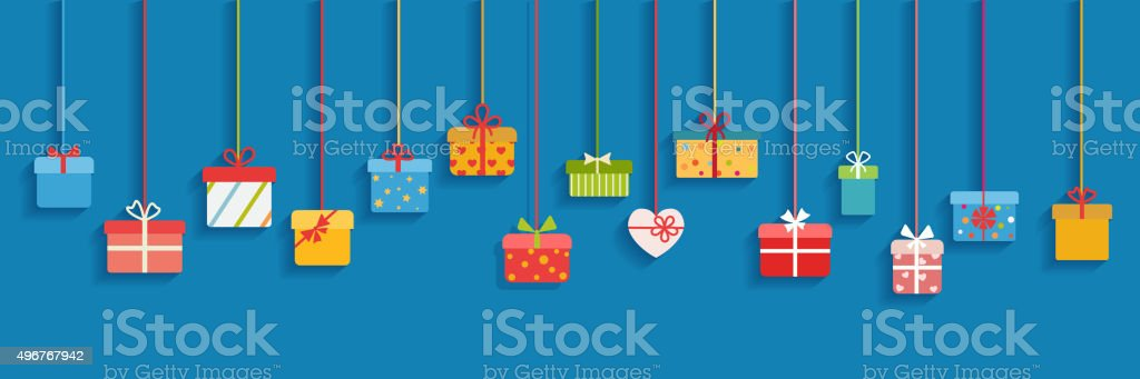 Background with hanging gift boxes vector art illustration