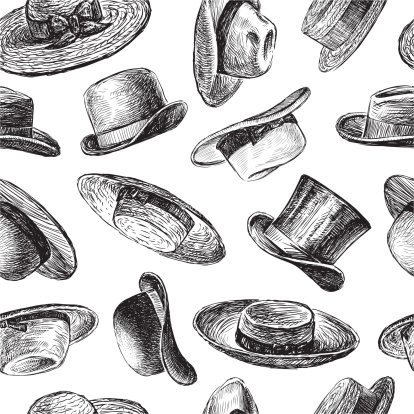 Vector background with  a collection of various hats.