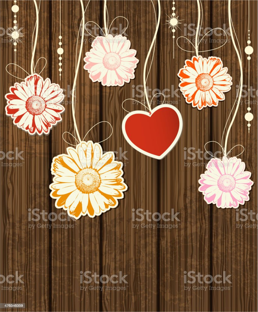Background with heart and flowers royalty-free stock vector art