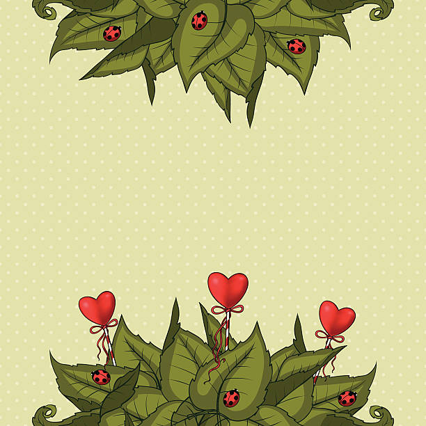 Background with hearts and leaves Vector background with green leaves, ladybugs and hearts mistery stock illustrations