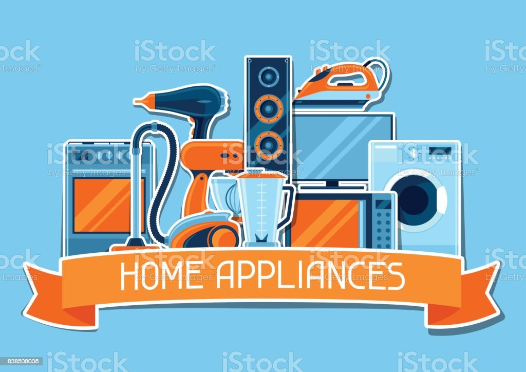 Background With Home Appliances Household Items For Sale And