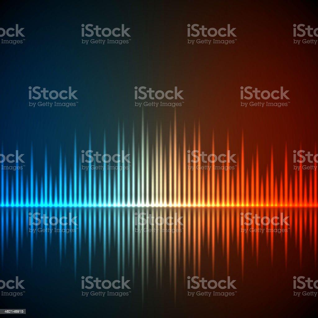 Background with illuminated equalizer music waves vector art illustration