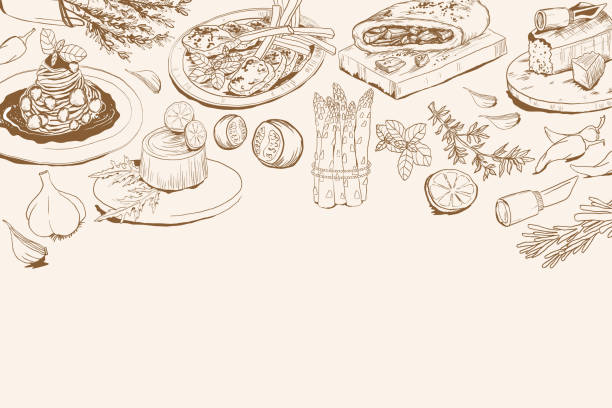 ilustrações de stock, clip art, desenhos animados e ícones de background with italian food ingredients - mediterranean food