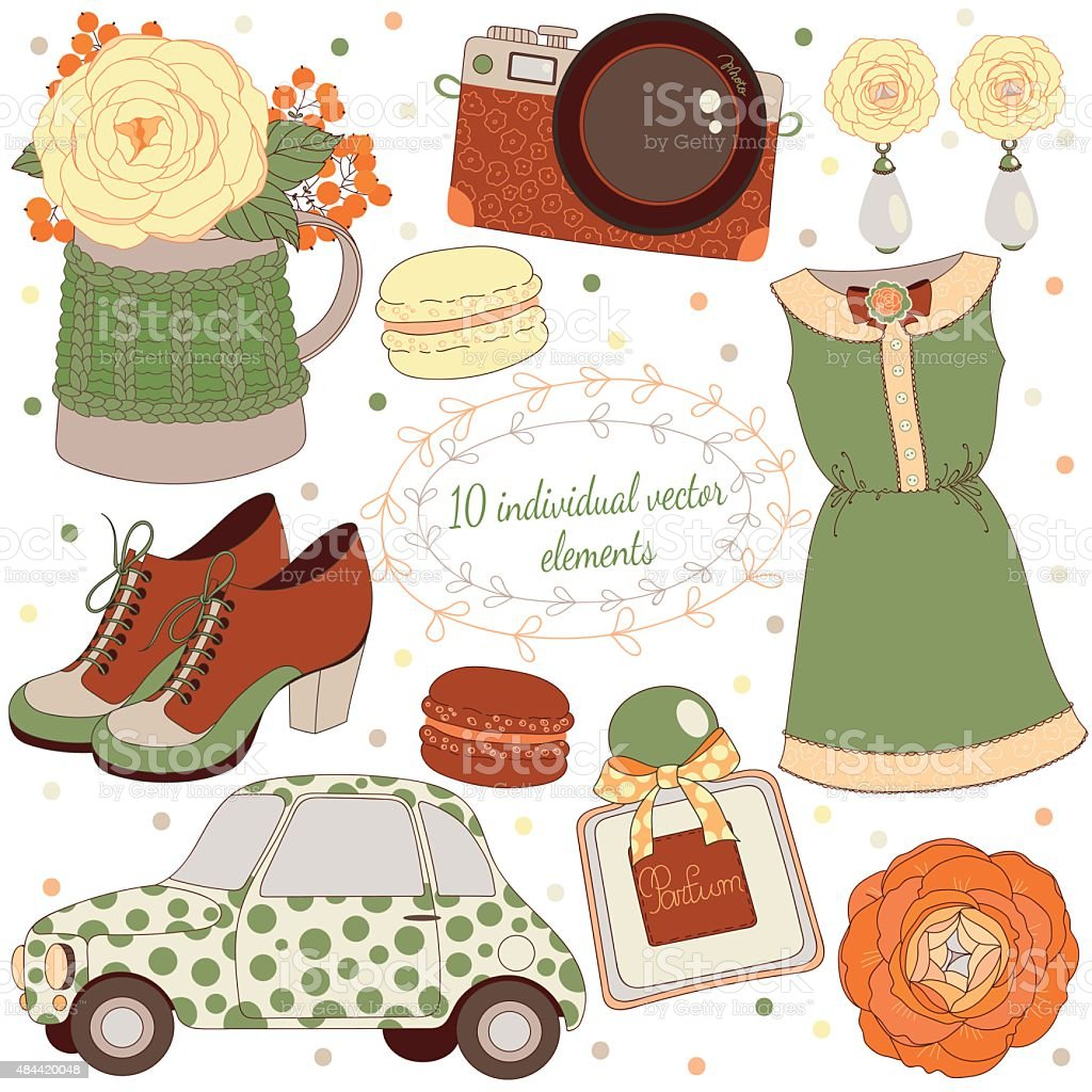Background with jewellery,perfume,dress,shoes,retro car,camera,flowers. vector art illustration