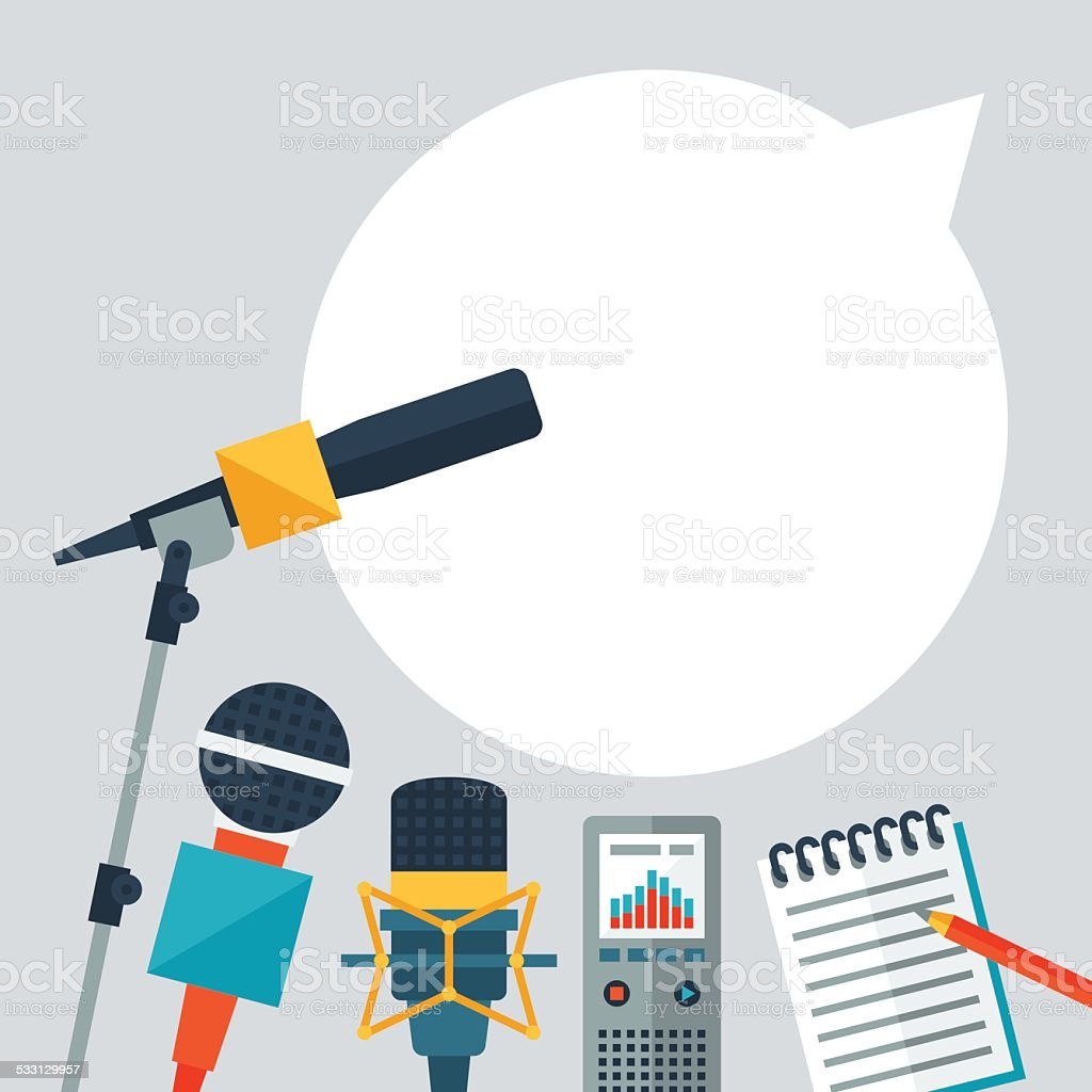 Background with journalism icons. vector art illustration