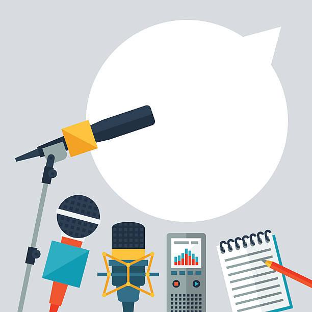 stockillustraties, clipart, cartoons en iconen met background with journalism icons. - journalist