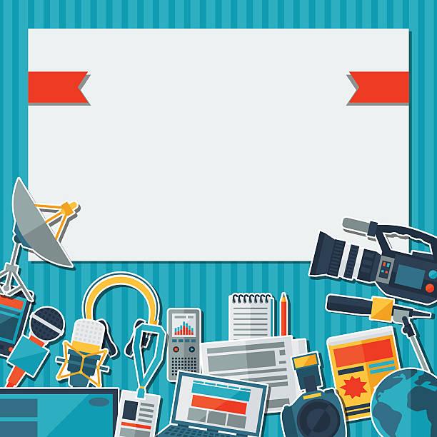 stockillustraties, clipart, cartoons en iconen met background with journalism icons. - journaal presentator
