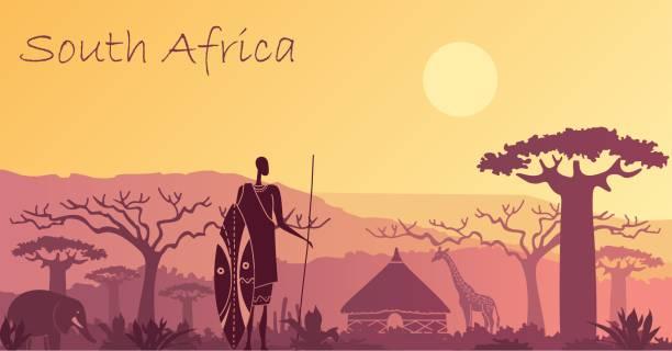 bildbanksillustrationer, clip art samt tecknat material och ikoner med bakgrund med landskapet i sydafrika - south africa