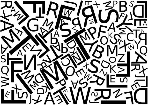 Background with letters scattered chaotic Background with letters scattered chaotic, vector illustration mess stock illustrations