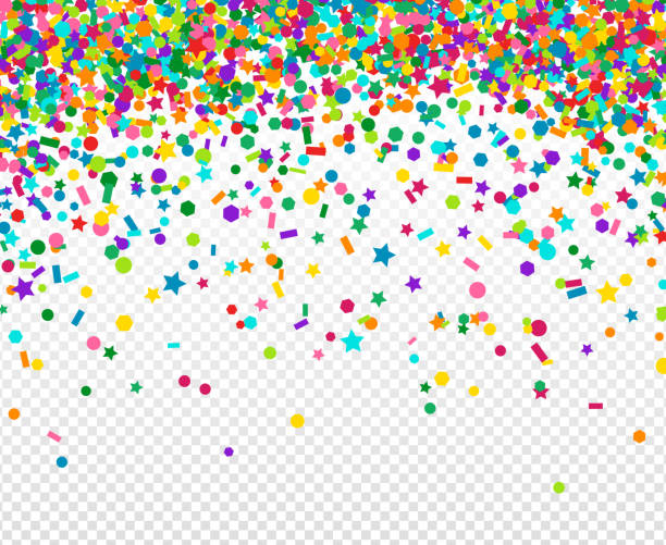 background with many falling tiny confetti - anniversary clipart stock illustrations