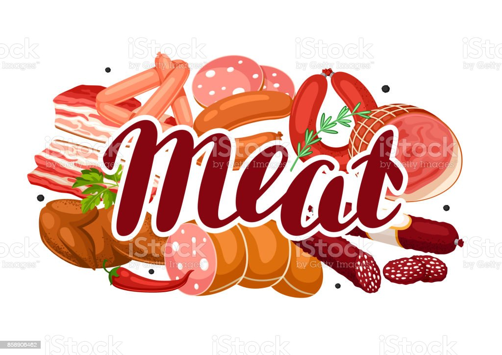 Background with meat products. Illustration of sausages, bacon and ham vector art illustration