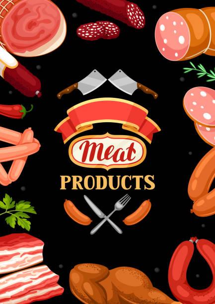 hintergrund mit fleischprodukten. abbildung von würstchen, speck und schinken - schweinebauch stock-grafiken, -clipart, -cartoons und -symbole