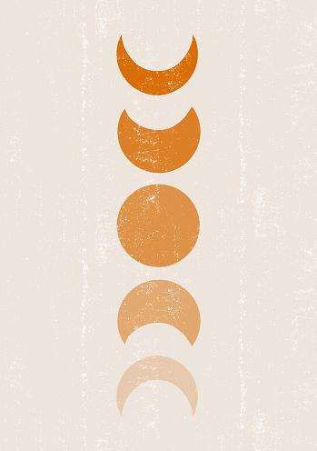 Background with Moon phases print boho minimalist printable wall art