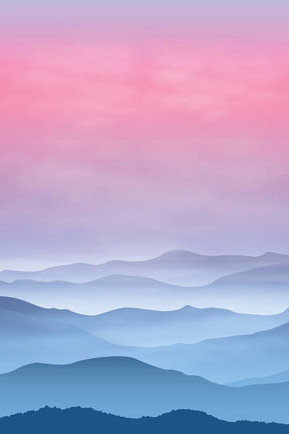 Background with mountains in the fog. Sunset time. Background with mountains in the fog. Sunset time. EPS10 vector. mountains in mist stock illustrations