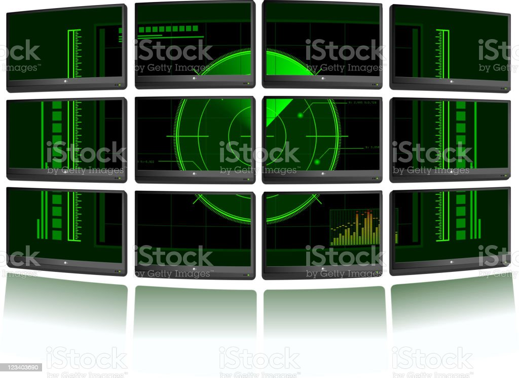 Background with multiple TV sets and radar royalty-free stock vector art