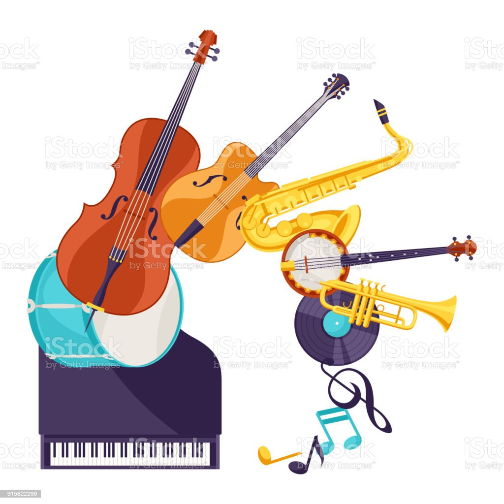 Background with musical instruments. Jazz music festival poster vector art illustration