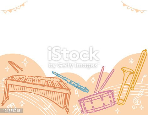 Background with musical instruments. Vector illustration.