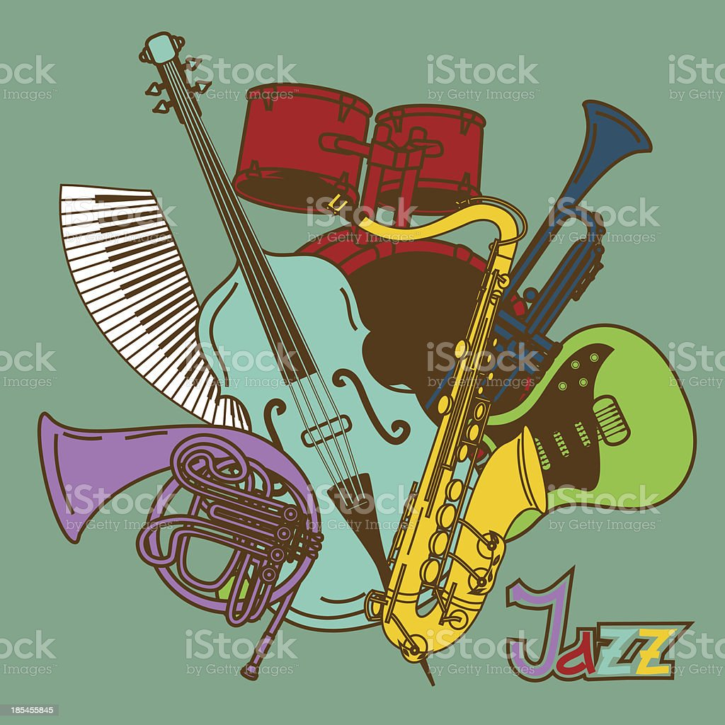 Background with musical instruments royalty-free stock vector art