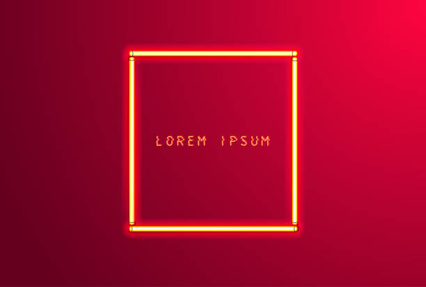 Background with neon red frame Background with neon red frame. Vector illustration letterbox format stock illustrations
