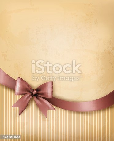istock Background with old_paper with gift bow and ribbon. Raster version 478787600