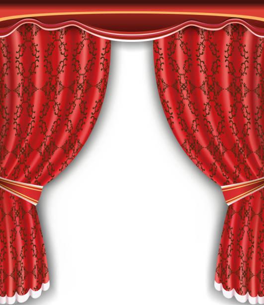 illustrazioni stock, clip art, cartoni animati e icone di tendenza di background with open red curtain - sipario