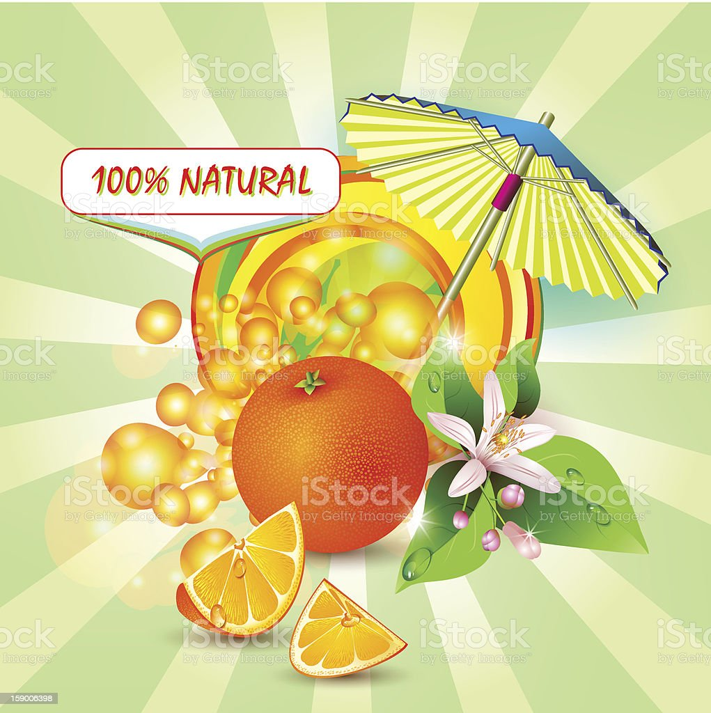 Background with orange, flowers and umbrella royalty-free stock vector art