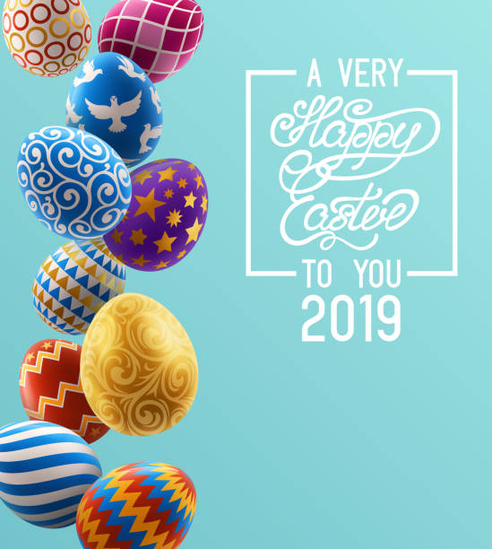 Background with Painted Eggs Background with decorated Easter eggs, design of greeting card. EPS 10 contains transparency easter stock illustrations
