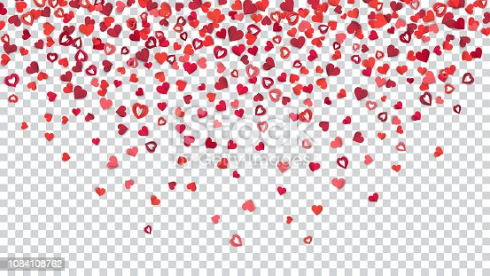 Many small red and pink paper hearts on transparent background, located above.