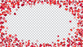 Many small red and pink paper hearts on transparent background, ellipse shaped.