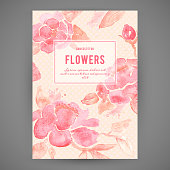 Background with Peony flowers. Watercolor painting in vector.