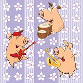 Cheerful pigs on  striped background with flowers