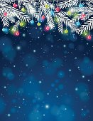 background with  pine twig and christmas ball