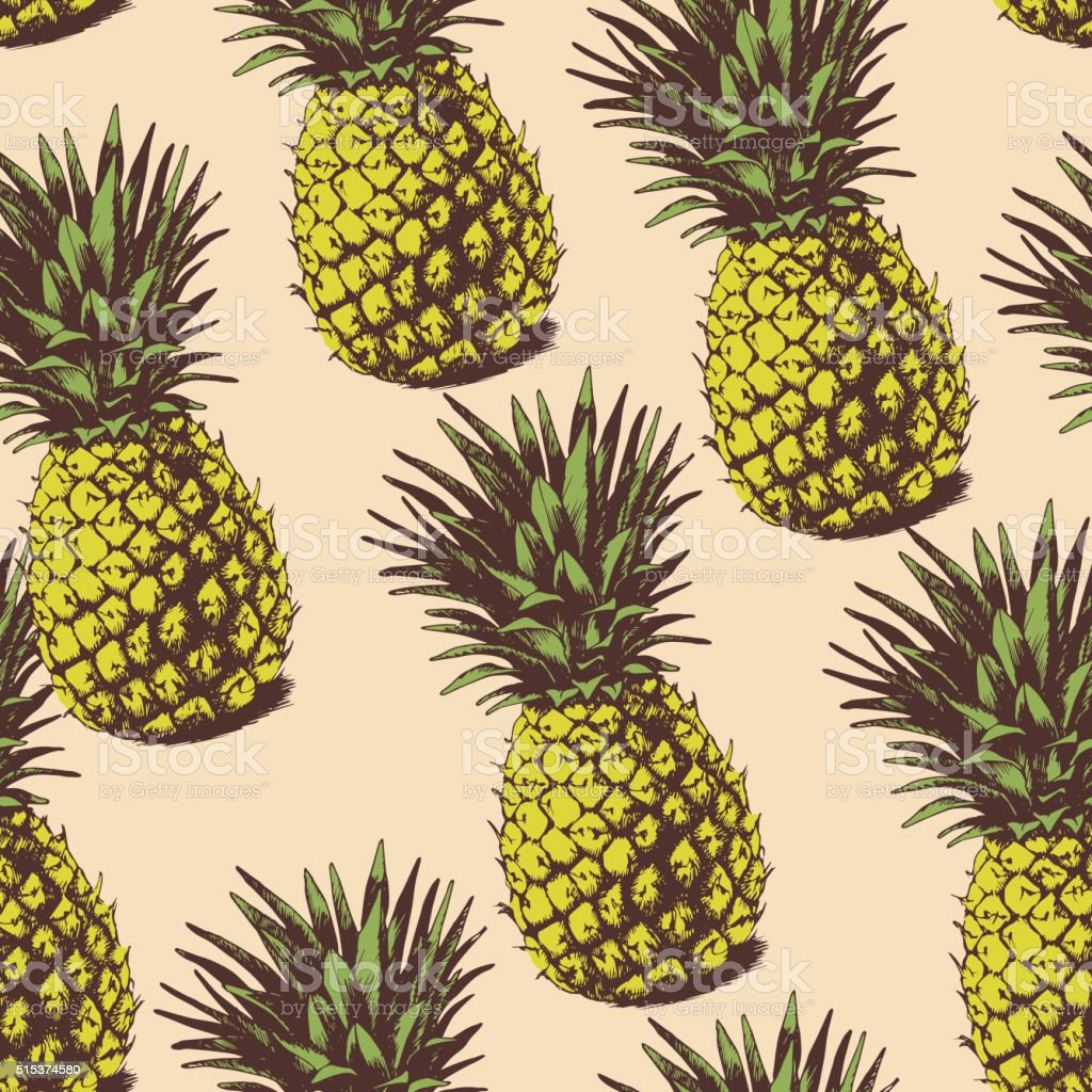 Background with  pineapples vector art illustration