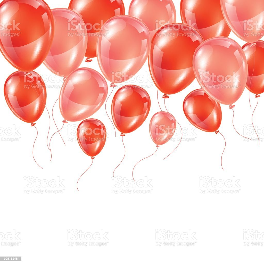 Background with pink and red glossy balloons vector art illustration