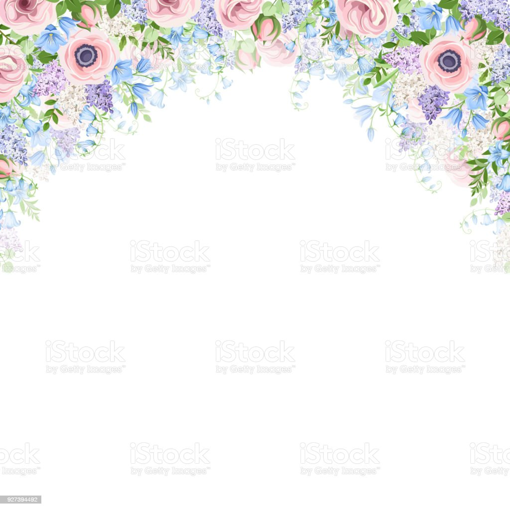 Background With Pink Blue And Purple Flowers Vector Illustration