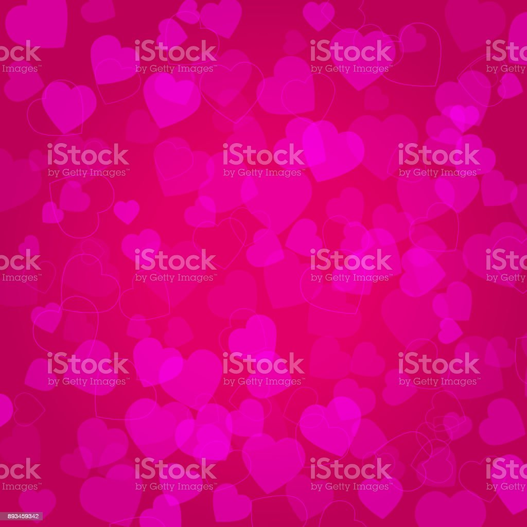 Background with pink hearts on pink background vector art illustration