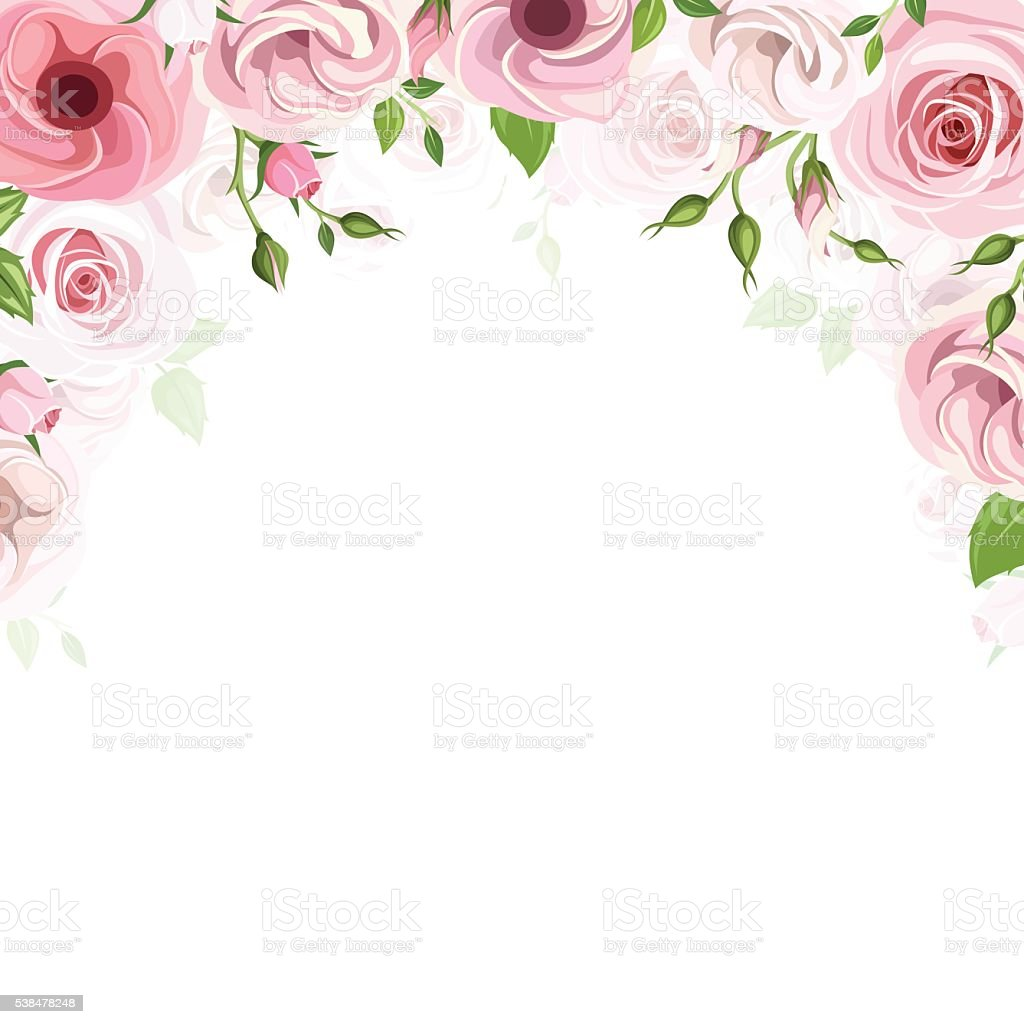 Background with pink roses and lisianthus flowers. Vector illustration. vector art illustration