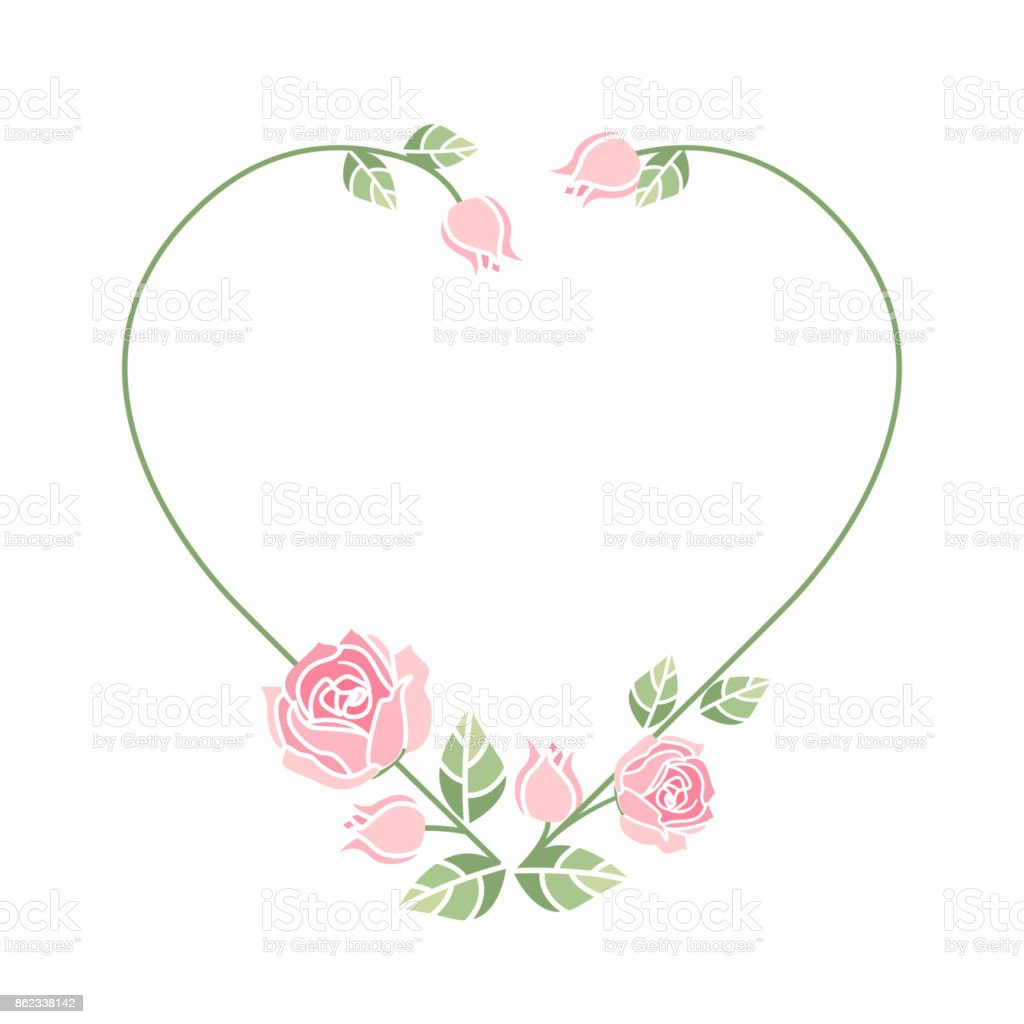 Background with pink roses vector art illustration