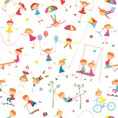 The vector background with a cheerful playing children.