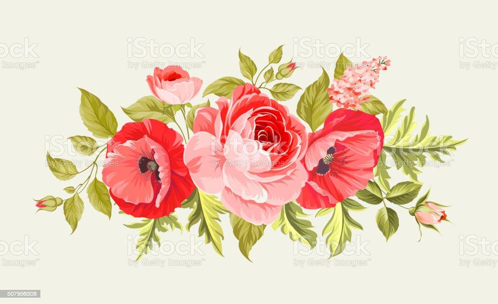 Fundo com poppies - ilustração de arte em vetor