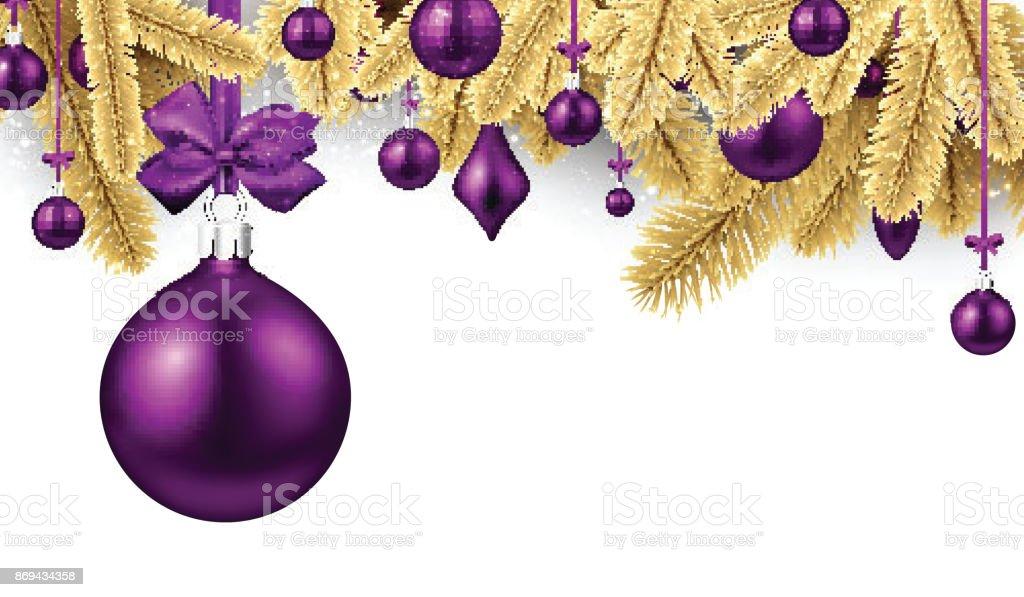 Ilustración de Fondo Con Bolas De Navidad De Color Púrpura y más ...